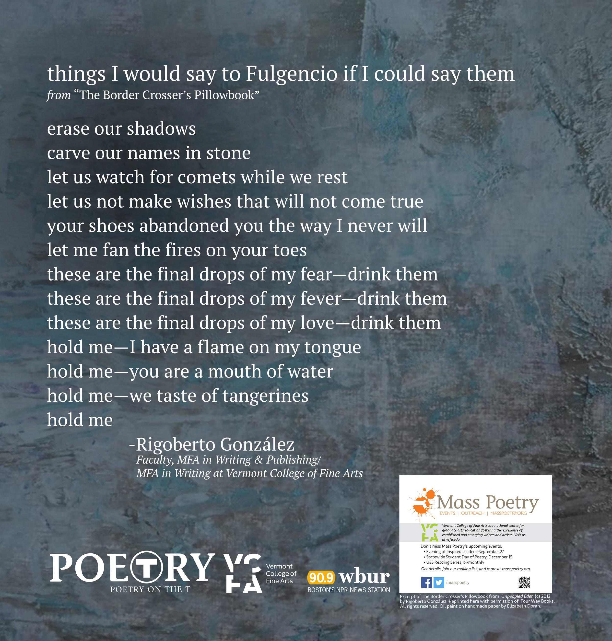"Rigoberto Gonzalez, ""things I would say to Fulgencio if I could say them"""