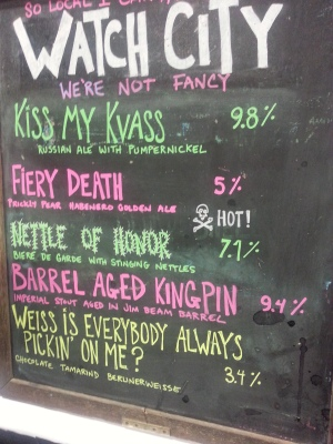 Beers from Watch City Brewing, MA. Our whole selves were on fire after sipping their Fiery Death!