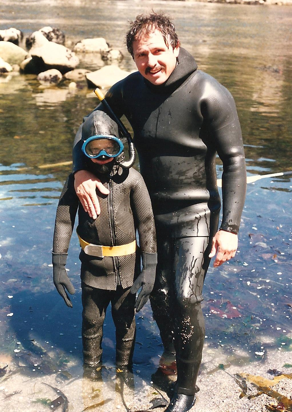 Al built his own wetsuits for his kids since youth sizes were not existent in the early days of diving.