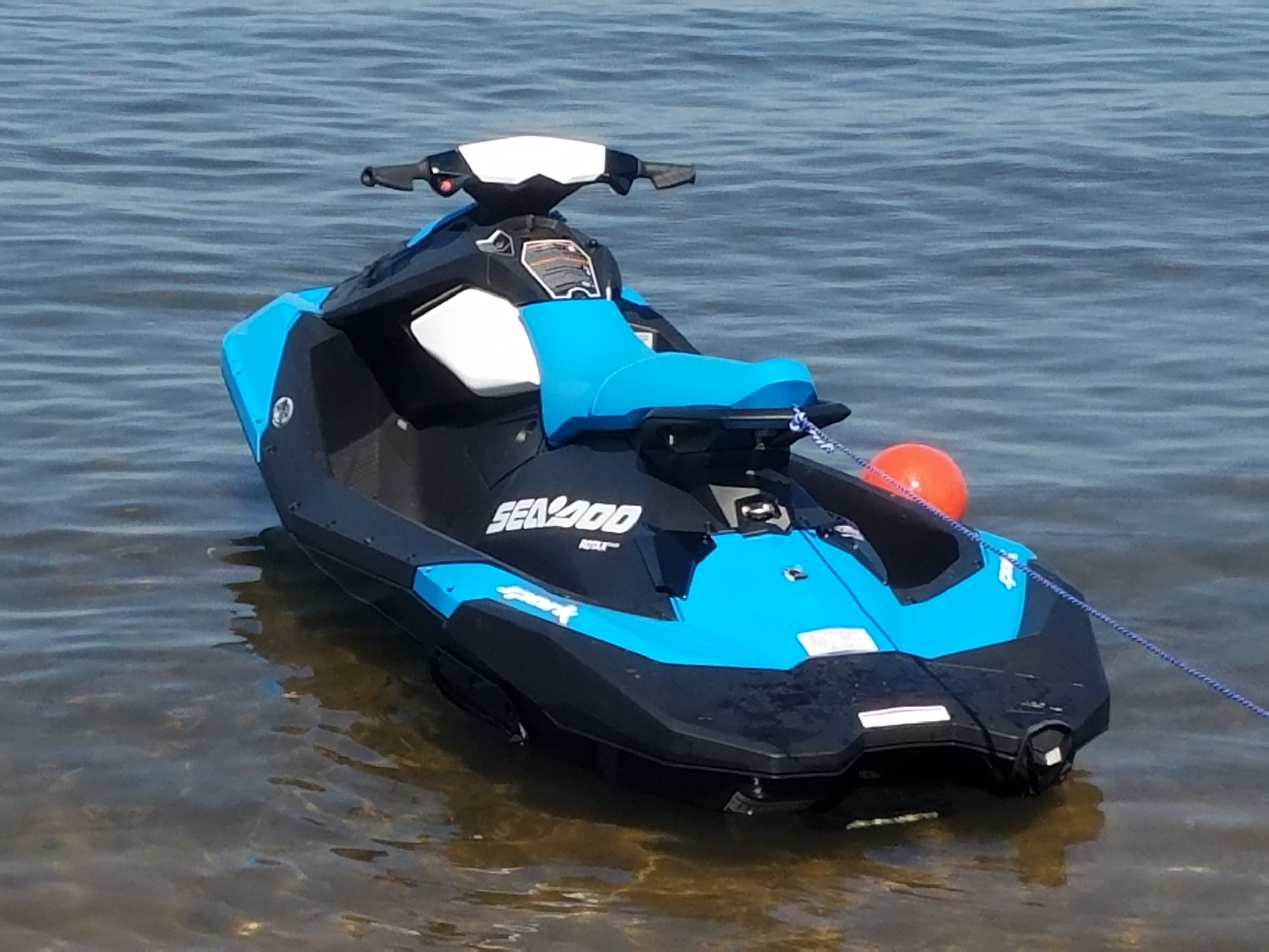 Blue Seadoo Spark 3up. Light wieght the Seadoo Spark is quick nimble and fun.