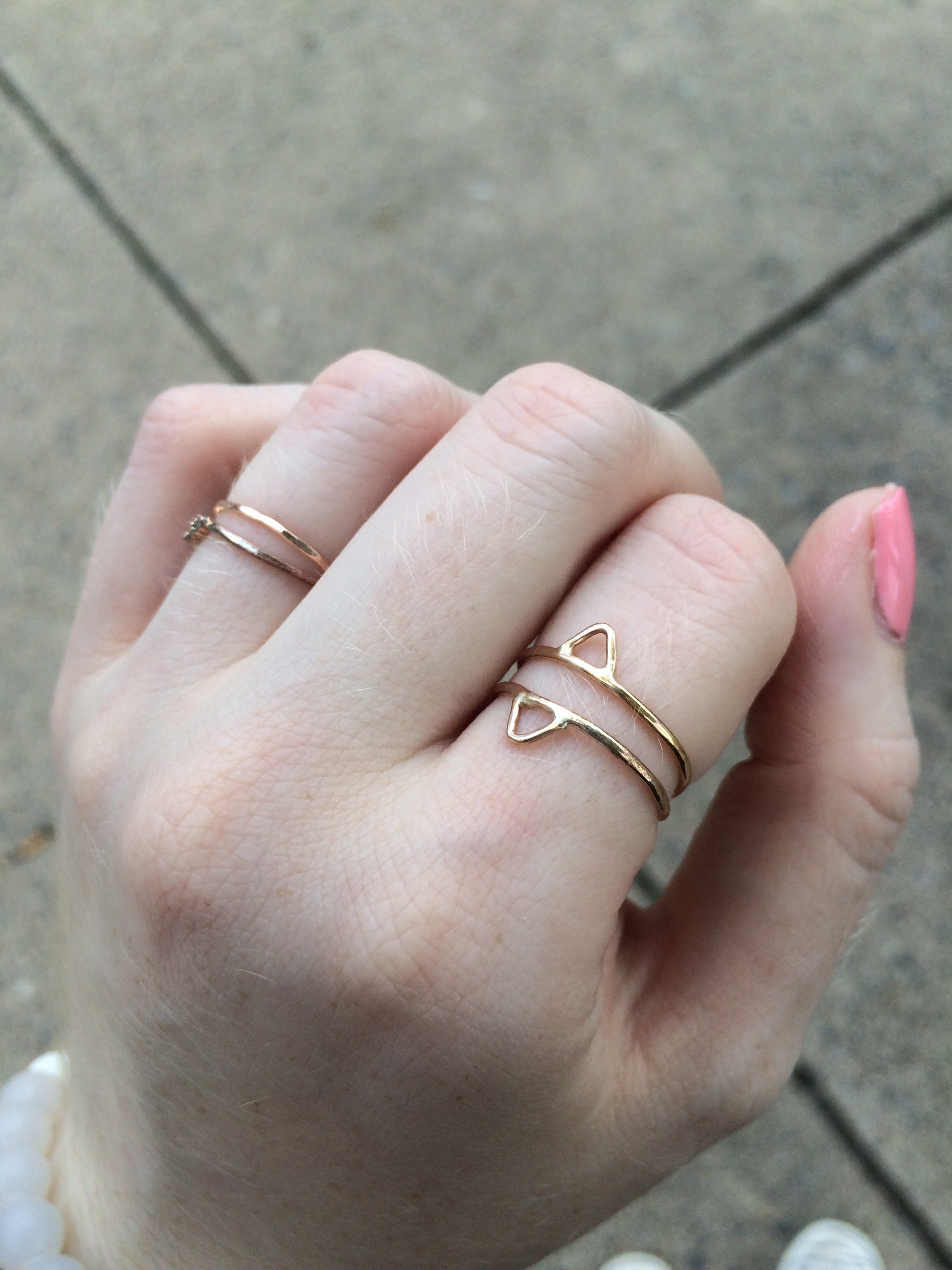 The unadorned rose gold stacking ring on my ring finger is also one of Cheyenne's!