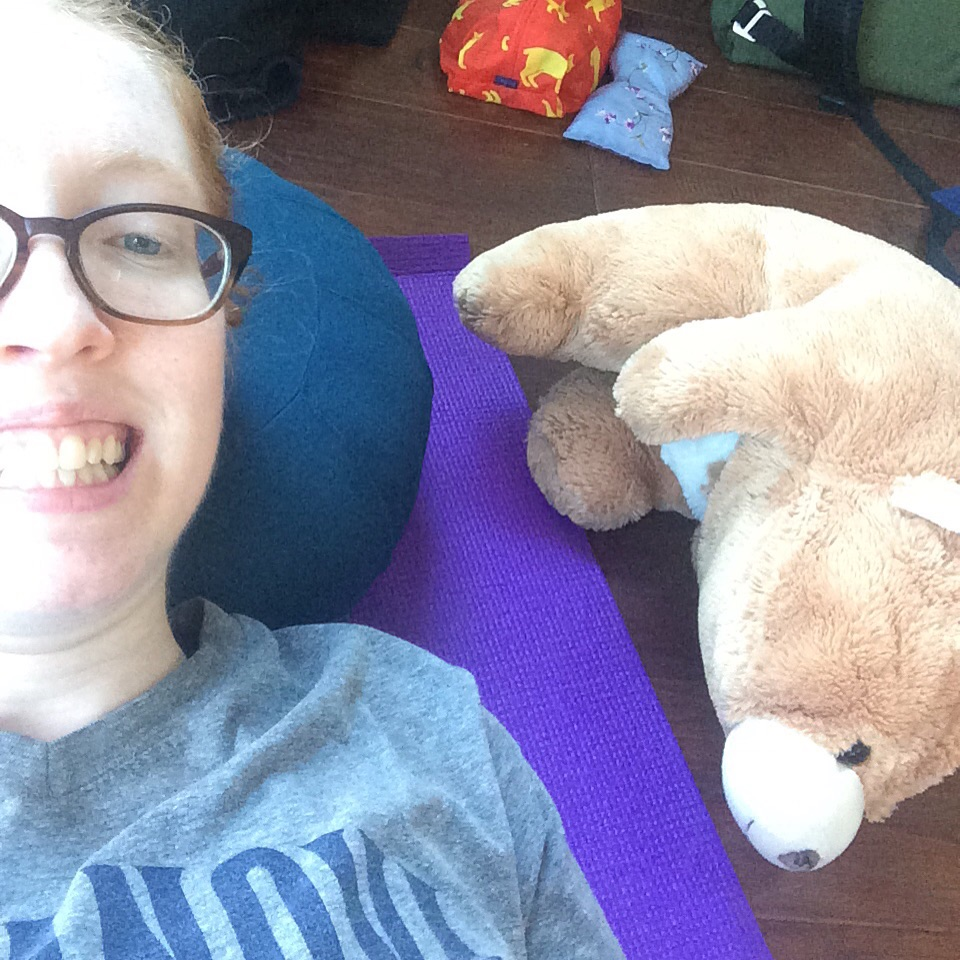 Taking a break with Snuff (my giant  Gund Snuffles  bear)!