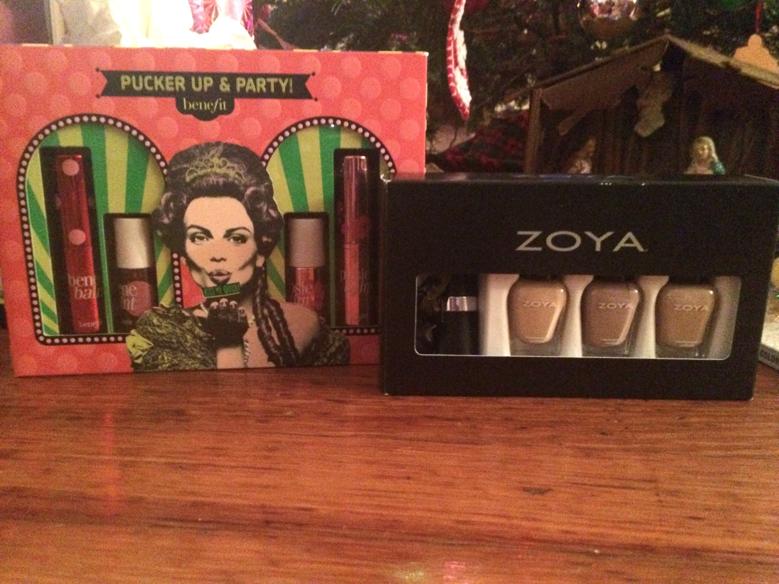 """Benefit and Zoya sets from my mom! I'm currently wearing """"Rue,"""" the middle shade in the Zoya set, and it's this awesome mauvey griege <3"""