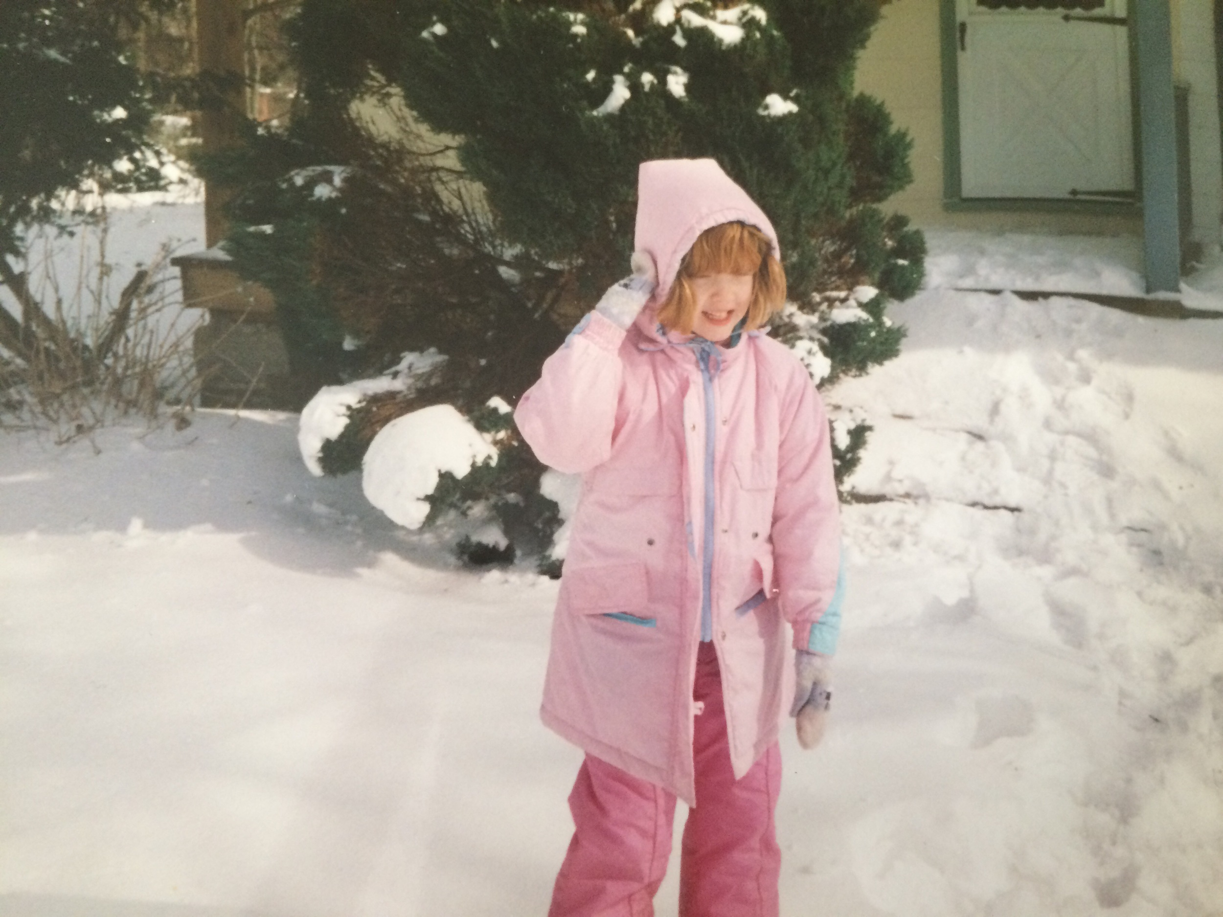 Sadly, you can't see my furry, bejeweled pink snow boots, which also went spectacularly with my Catholic school uniform!