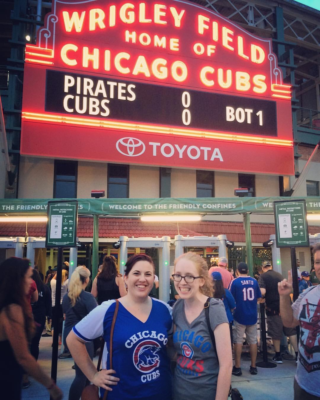 Timmi is not a sports person, like at all, so I was surprised that she was totally down to go to a game... and to get appropriate shirts at Target  beforehand  (like literally an hour beforehand)! Don't we blend in so well? ;)