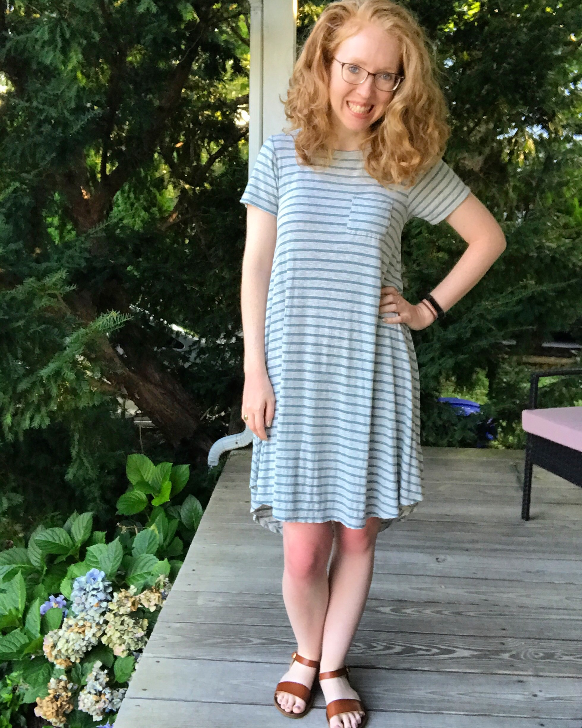 Carly dress:  LulaRoe by Serena McCullough  (2017) | Sandals:  Target  (2017)