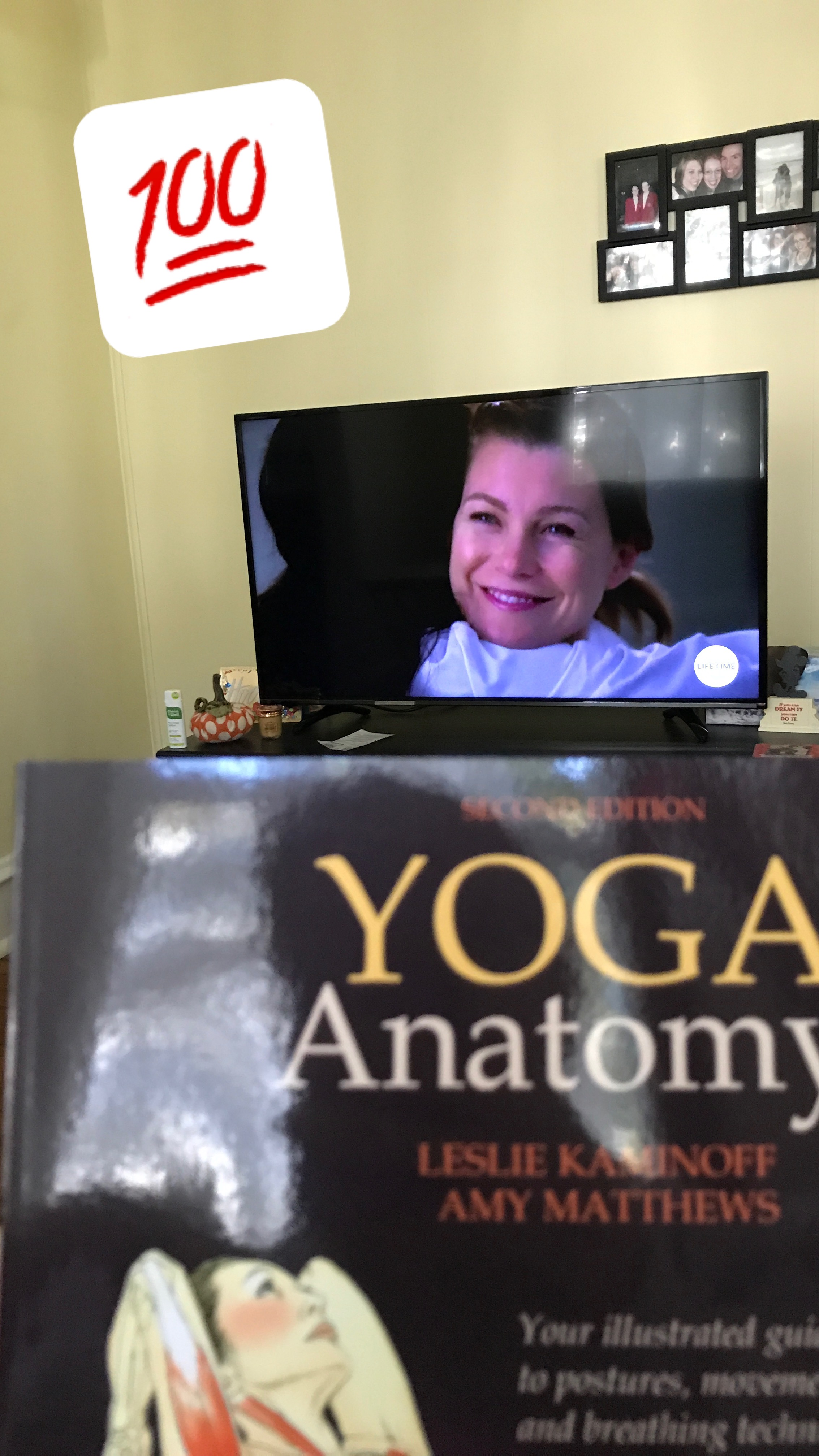 I did actually have  Grey's  on when Y oga Anatomy arrived in the mail! If only Ellen Pompeo narrated that too...