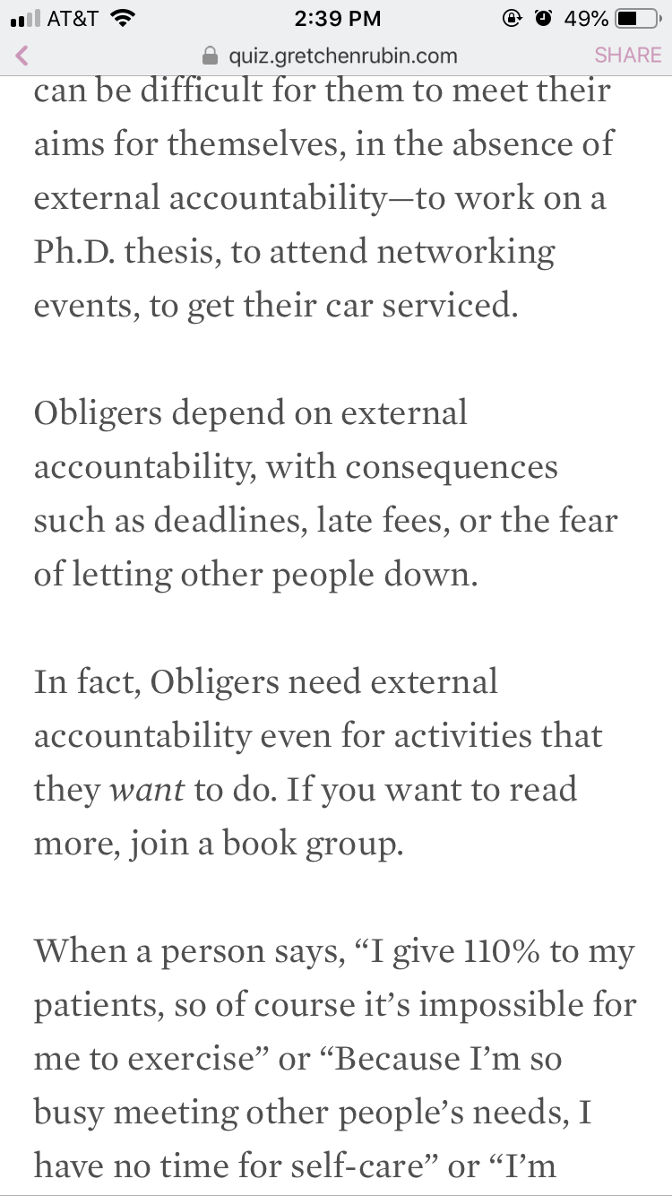 I'm an Obliger, which is basically a people-pleaser. 😣