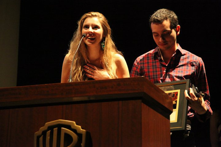 JUNE 2011. LOS ANGELES, CALIFORNIA. Warner Brother's Studios. Eliza and Carlos Valdivia accept the award for Best Actress (Sam Strelitz) and Best Drama for MY KETCHUP SMILES at AT&T's Campus Movie Festival.