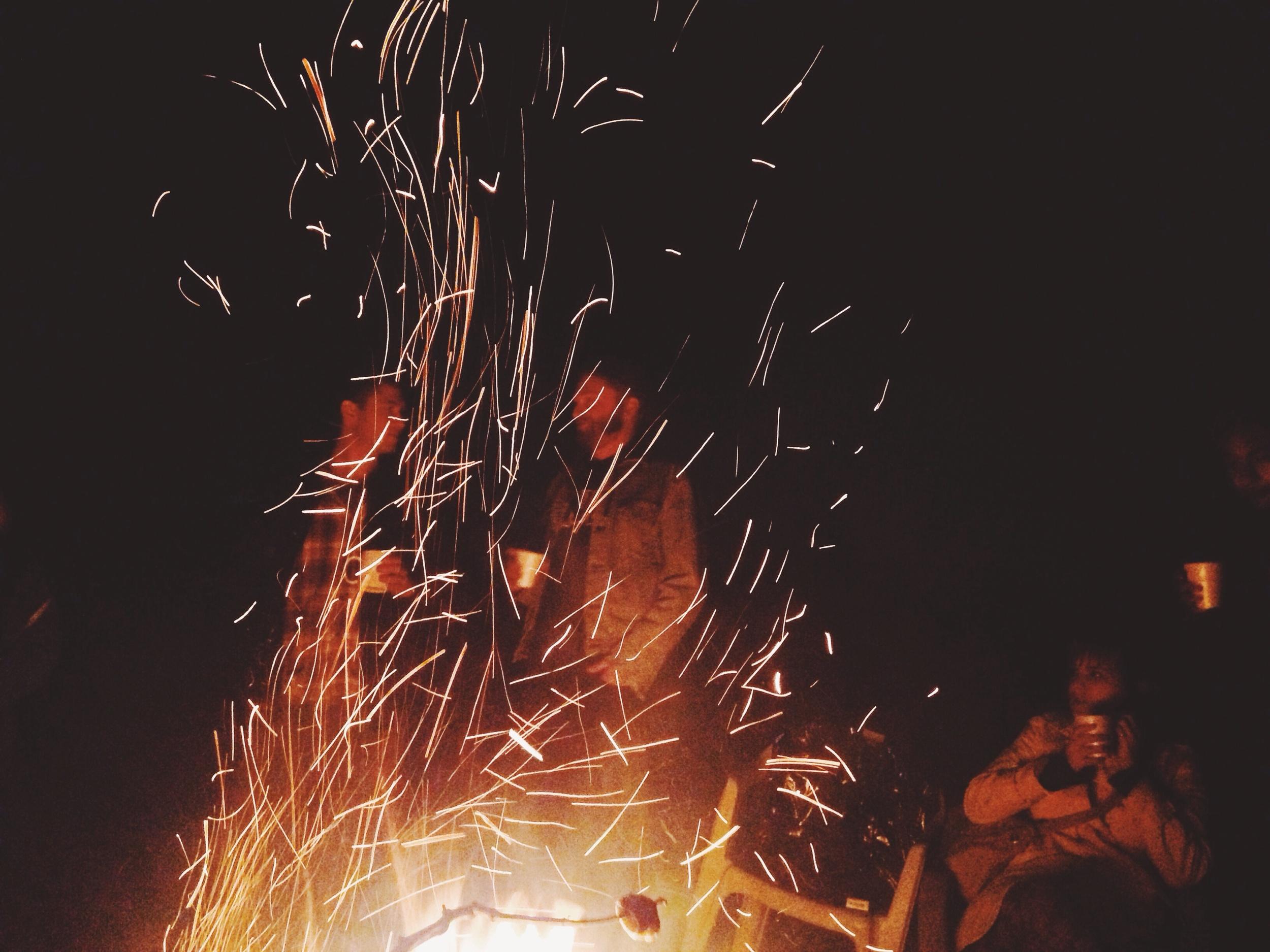 A campfire in Missouri during the Citizen Jane Film Festival.