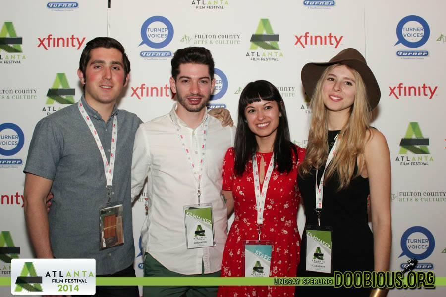 April 2014. ATLANTA, GEORGIA. Hunter Baker, Jordan Fein, Christina Humphrey, and Eliza at the Atlanta Film Festival Screening of  WITHOUT FIRE  in the New Maverick's block.