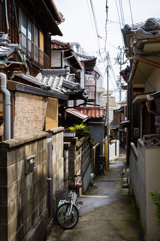 Morning sun in a quiet neighborhood alley on Awaji Island, Japan