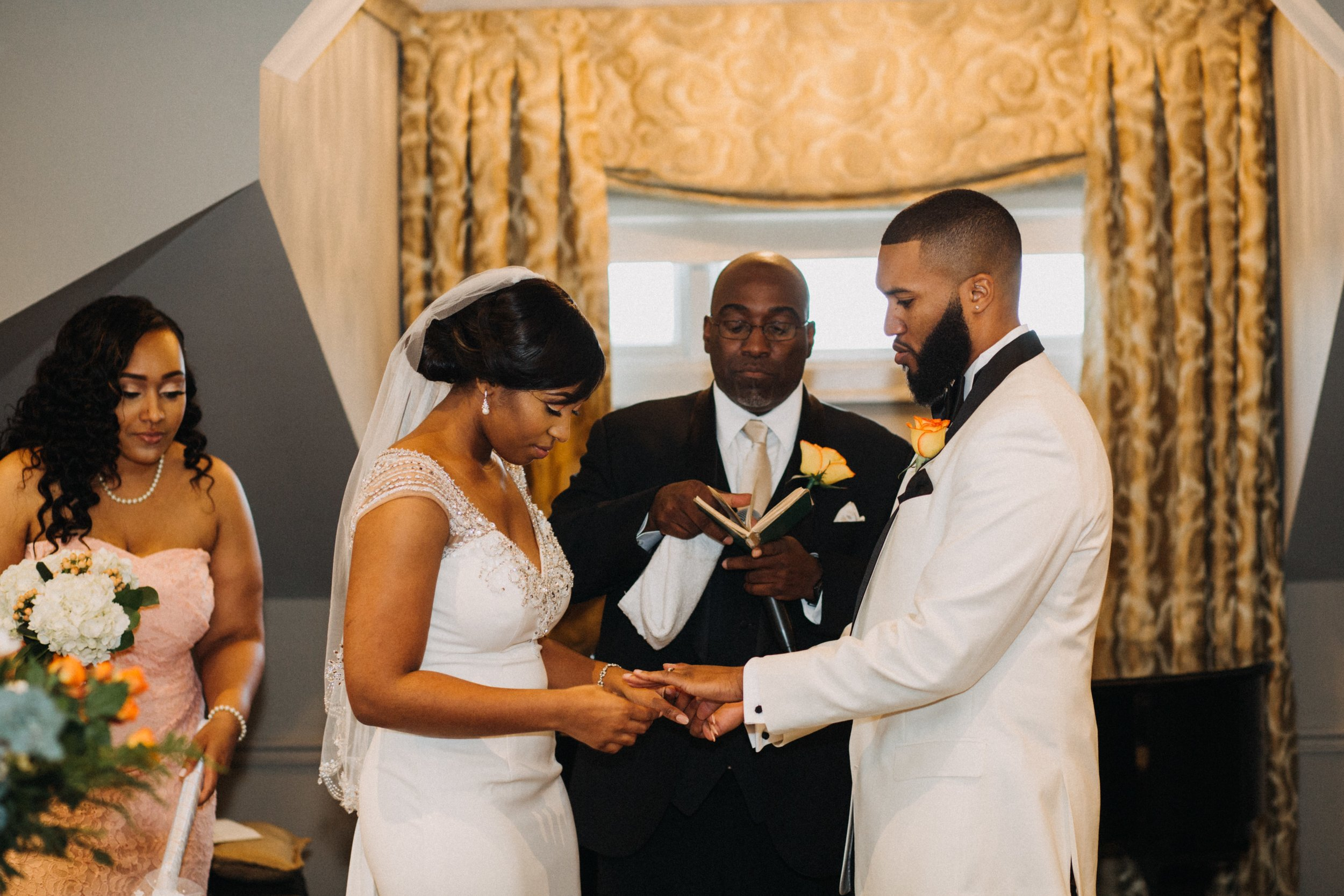 When the groom see's his ring for the first time. Priceless!
