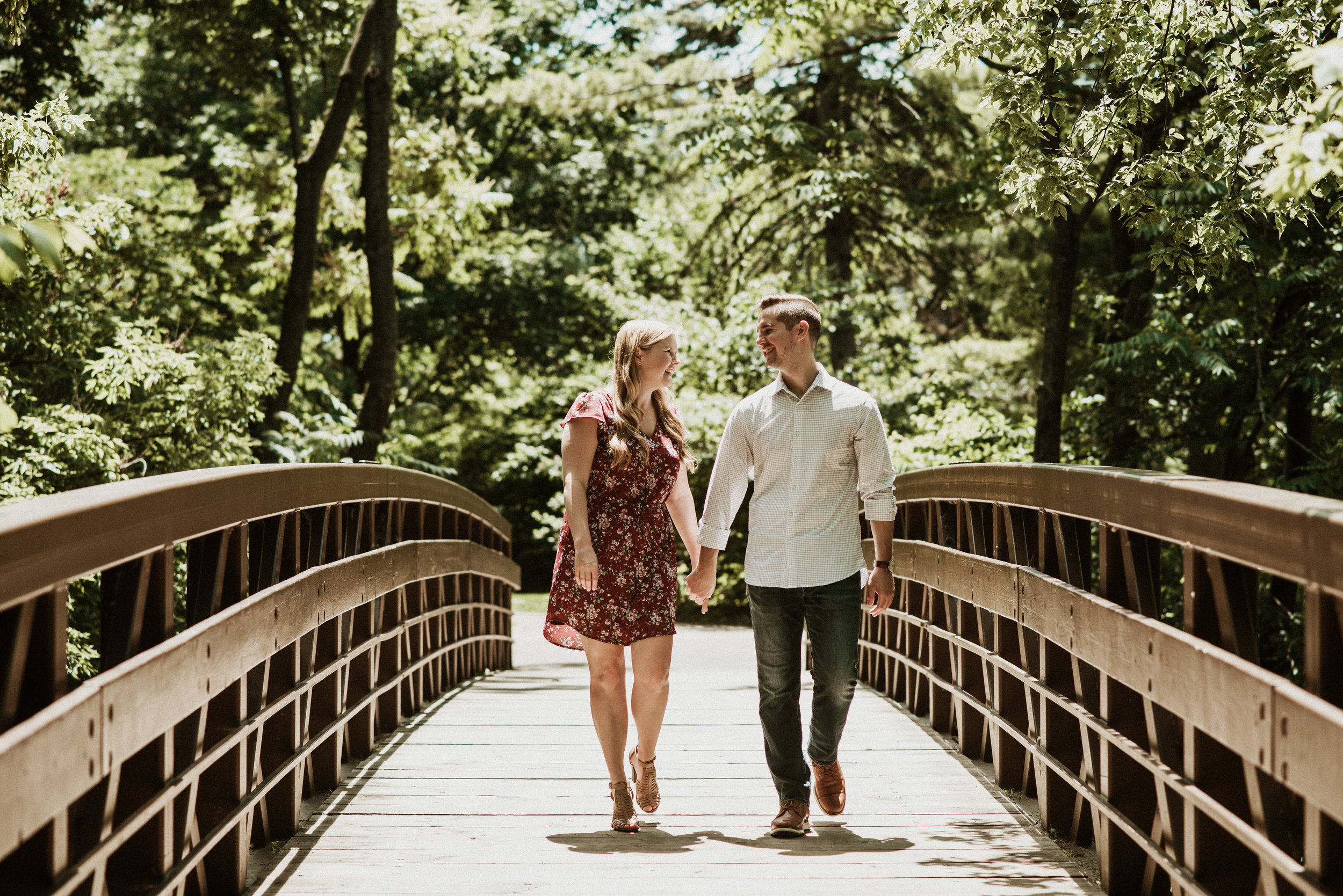 Emily and Brett | Hot Summer Days | Moser Tower Engagement Session & Naperville Riverwalk | Naperville, IL | Chicago Wedding Photogapher