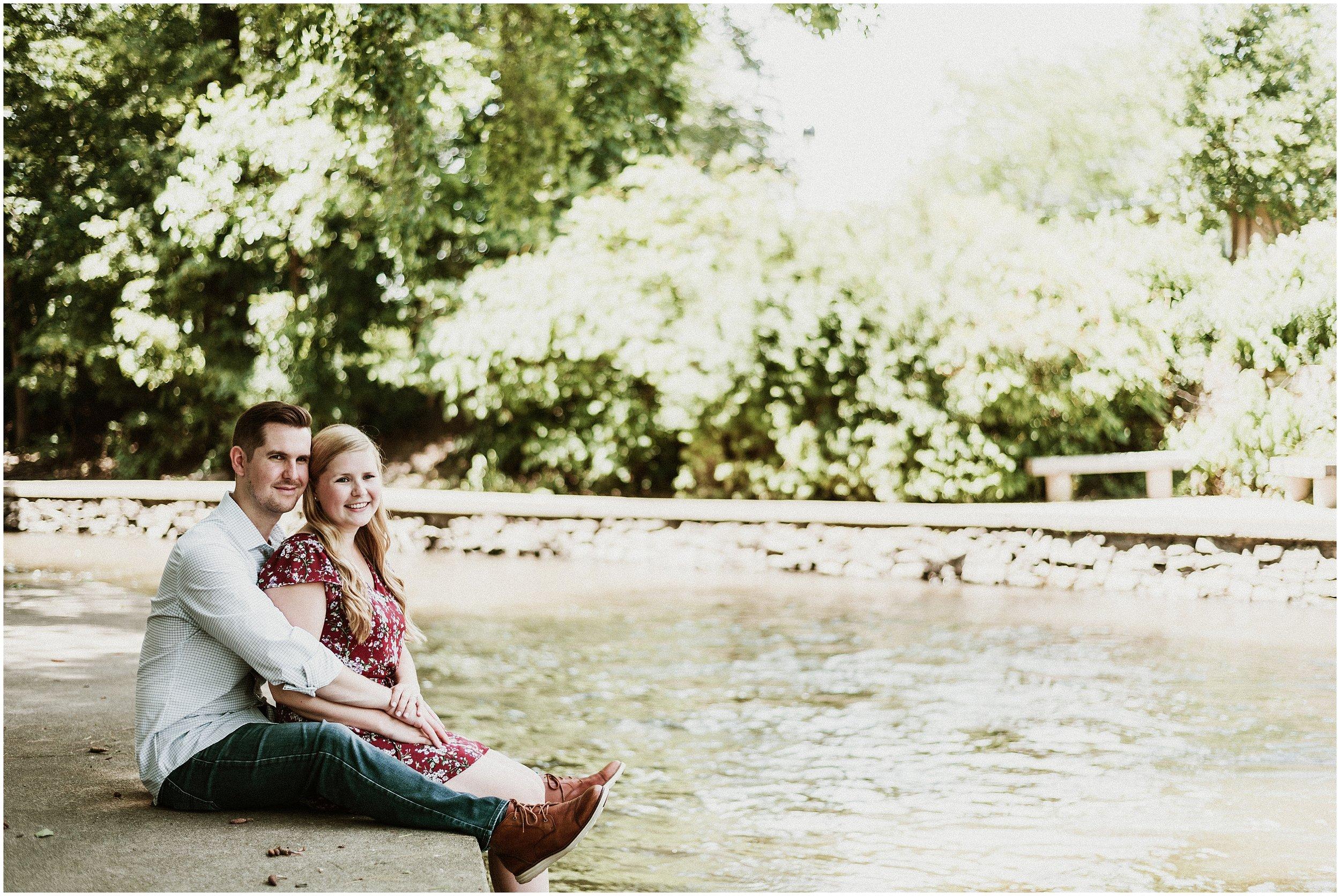 Emily and Brett | Hot Summer Days | Moser Tower & Naperville Riverwalk Engagement Session | Naperville, IL | Chicago Wedding Photogapher