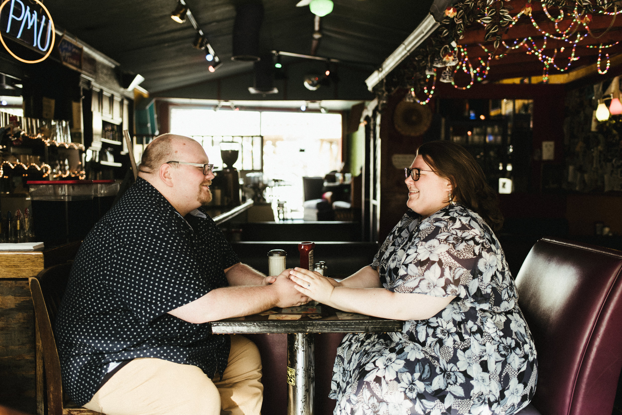 Maren and Dave - Urban Engagement Session | Pick Me Up Cafe Clark Street | Chicago, IL | Naperville Travel Wedding Photographer