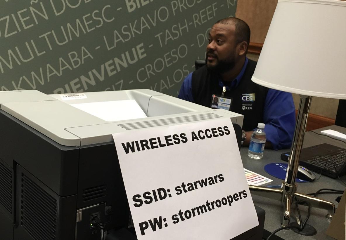プレスルームのWi-Fi。強いフォースを感じます!