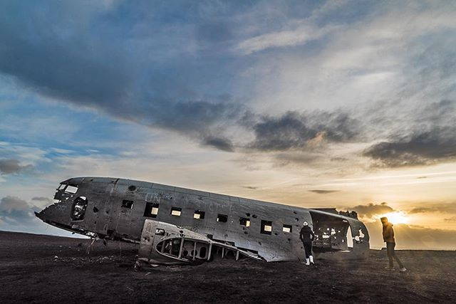 Exploring the lonesome remains of the DC-3.   #iceland #icelandair #everydayiceland #absoluteiceland #beautifuldestinations #ig_iceland #travel #sunset