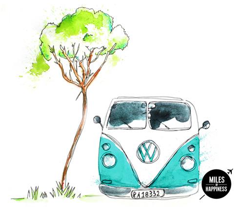 Road Trip Illustration - VW Van