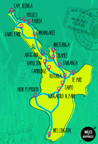 Road Map North Island New Zealand.Itinerary Of A 6 Months Trip In New Zealand Miles Of Happiness