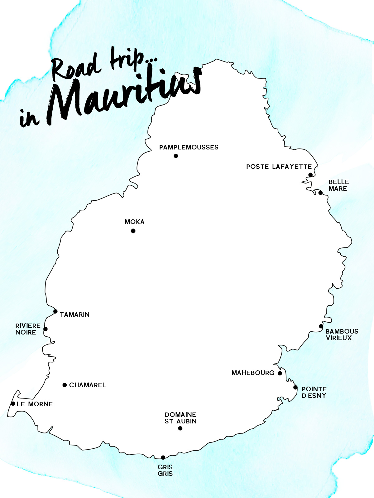 Itinerary of a road trip in Mauritius