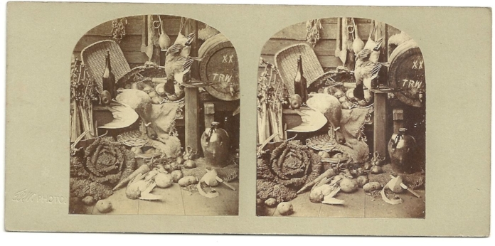 """In the Larder"" by T.R. Williams's ""First Series"" c.1854. Albumen Stereoview"