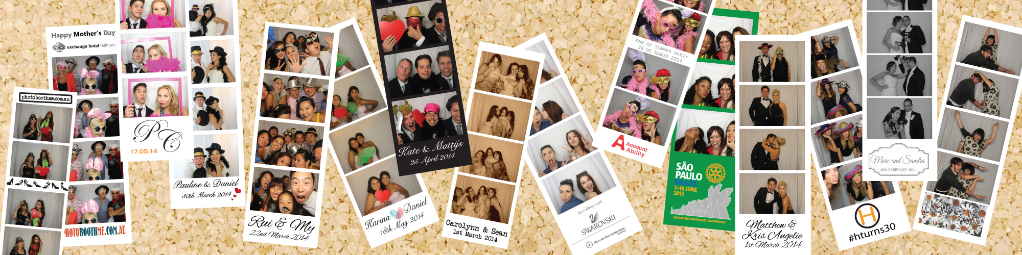 Some examples of customised photo strips from previous photo booth hires