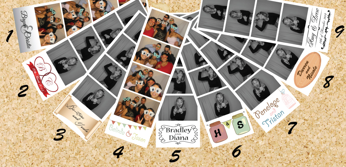 photoboothME HD wedding logo templates 1 to 9.