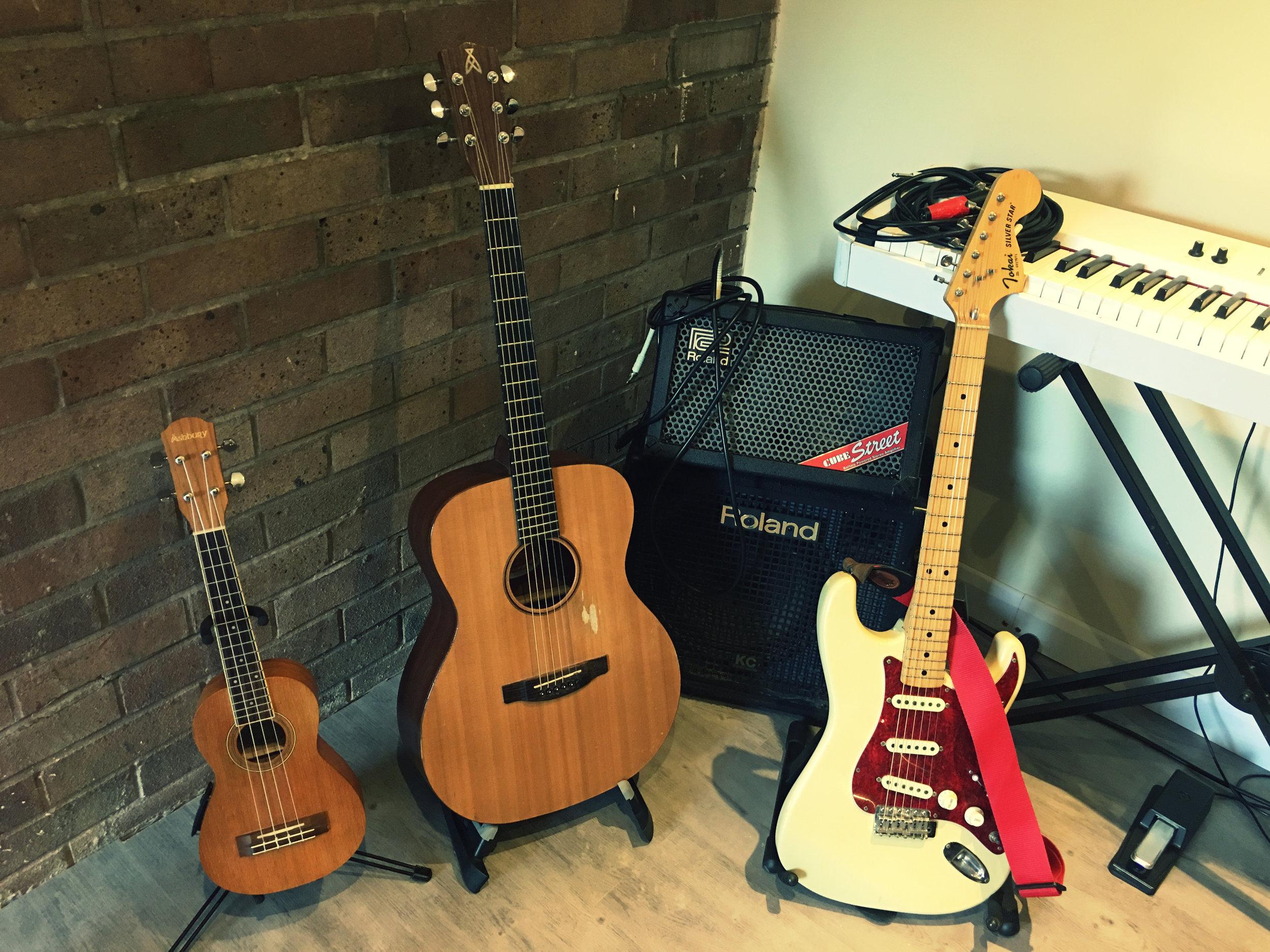 Ukulele, Acoustic and Electric Guitars, Roland Acoustic Amp, Roland cube amp, Roland FP-4 Electric Piano