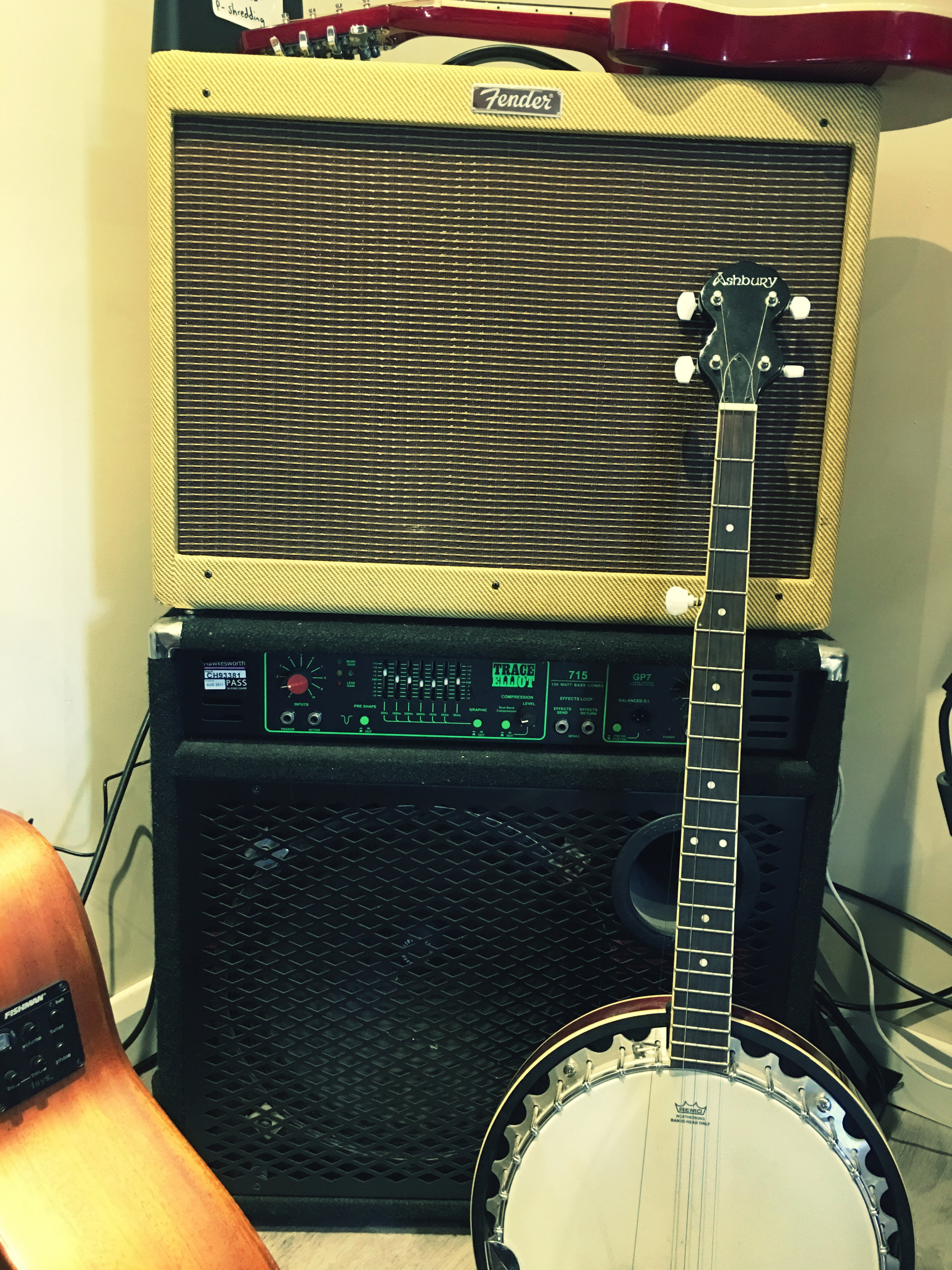 Fender Hot Rod Deluxe Tweed Amp, Trace Elliott Bass Amp, Acoustic guitar and Banjo!