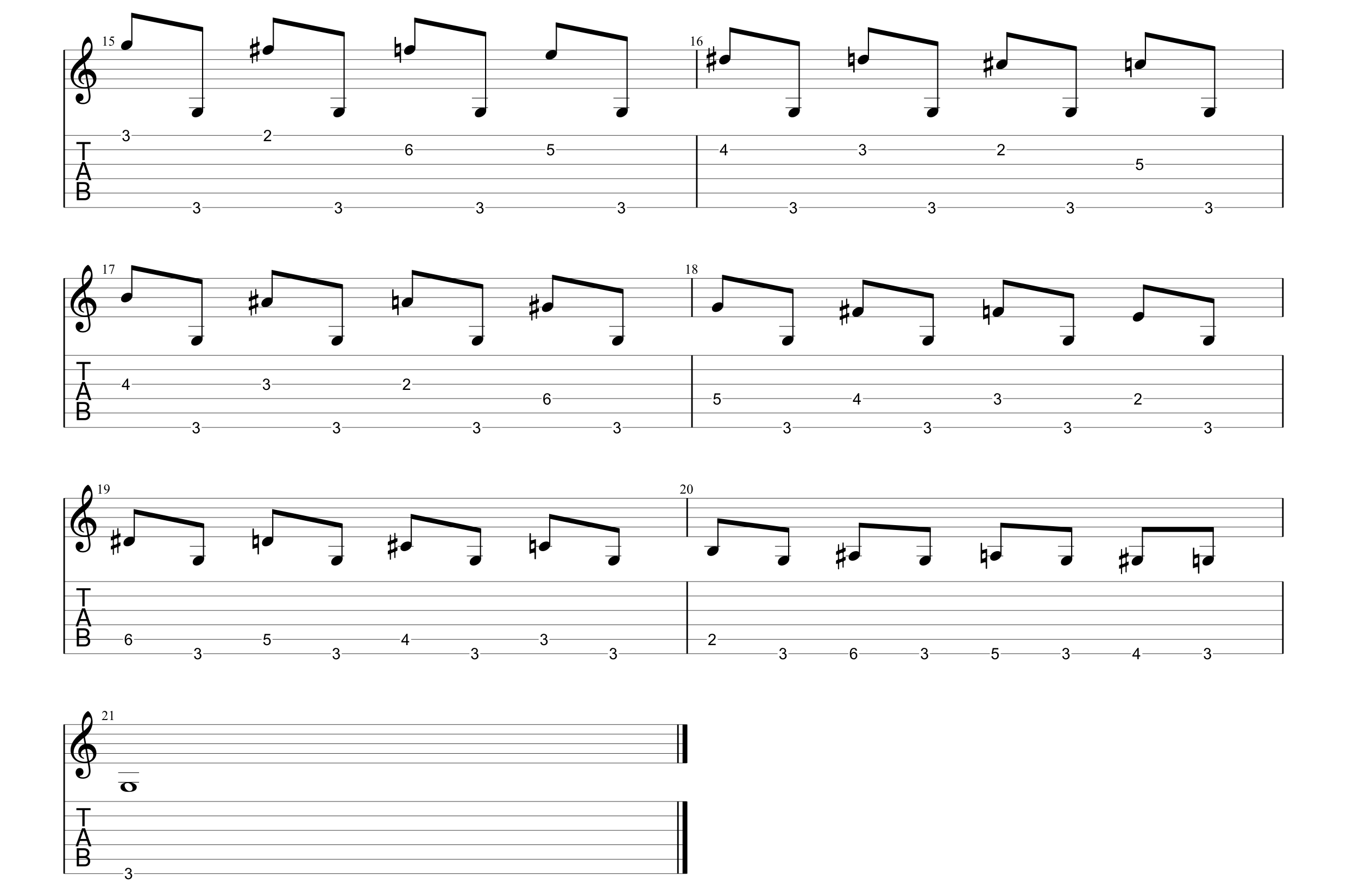 Chromatic Scale  - G - exercise up the neck#1#2.png
