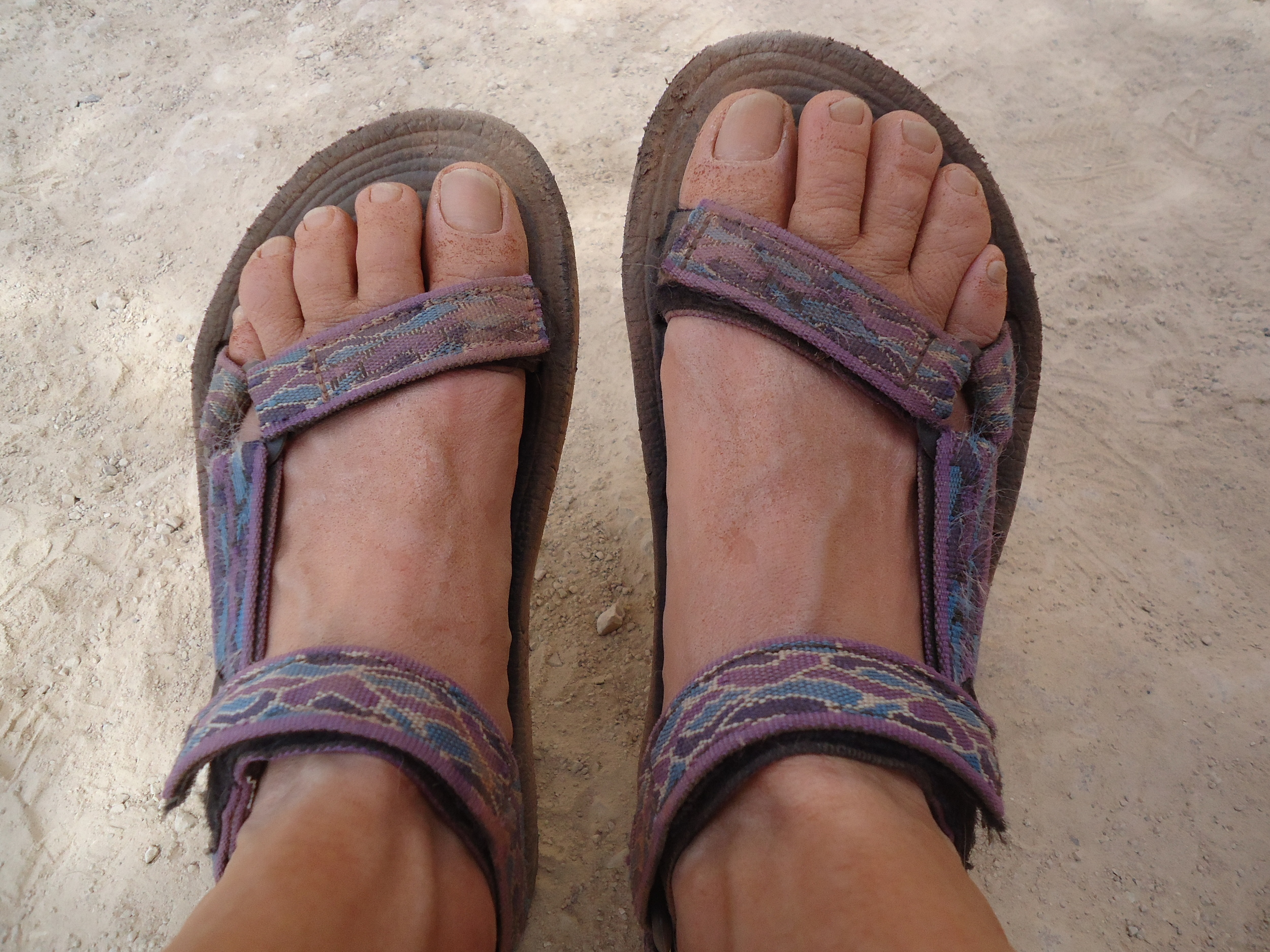My dirty feet and tattered Teva sandals after a day of canyon hiking!