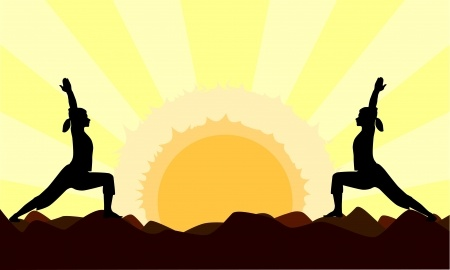 Yoga Sun Salutations to the Rising Sun