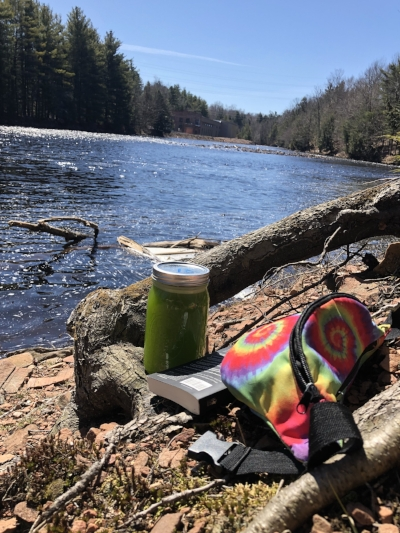 Relaxing by the Raquette, reading a book sipping my Cilantro Lemon Aid, and deeply grateful for the Sunshine of Spring!