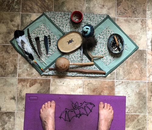 "My Sacred Earth Medicine Yoga mat & altar, in my home ""Yoga Studio."" This is my kitchen tiny space, carved out for Yoga, when the weather does not permit me to be outside."