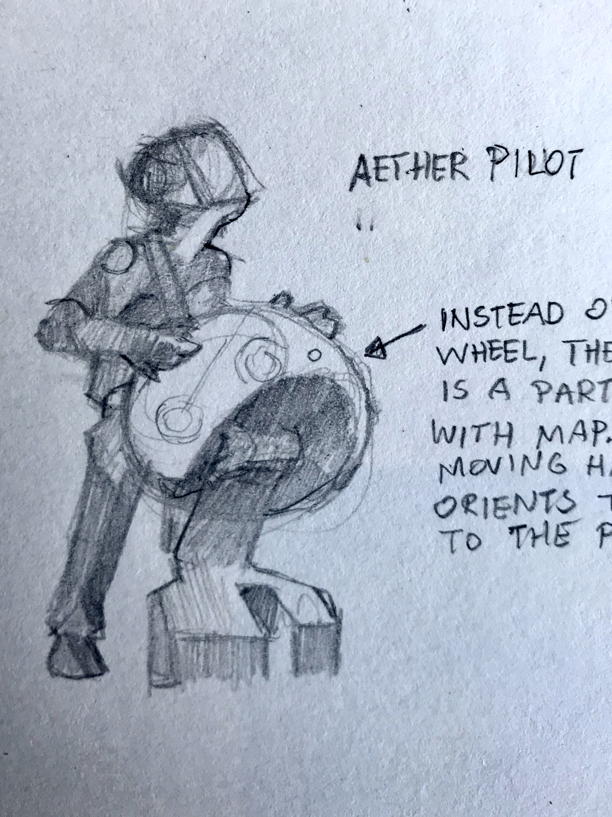 The Aether Pilot at the ships wheel.