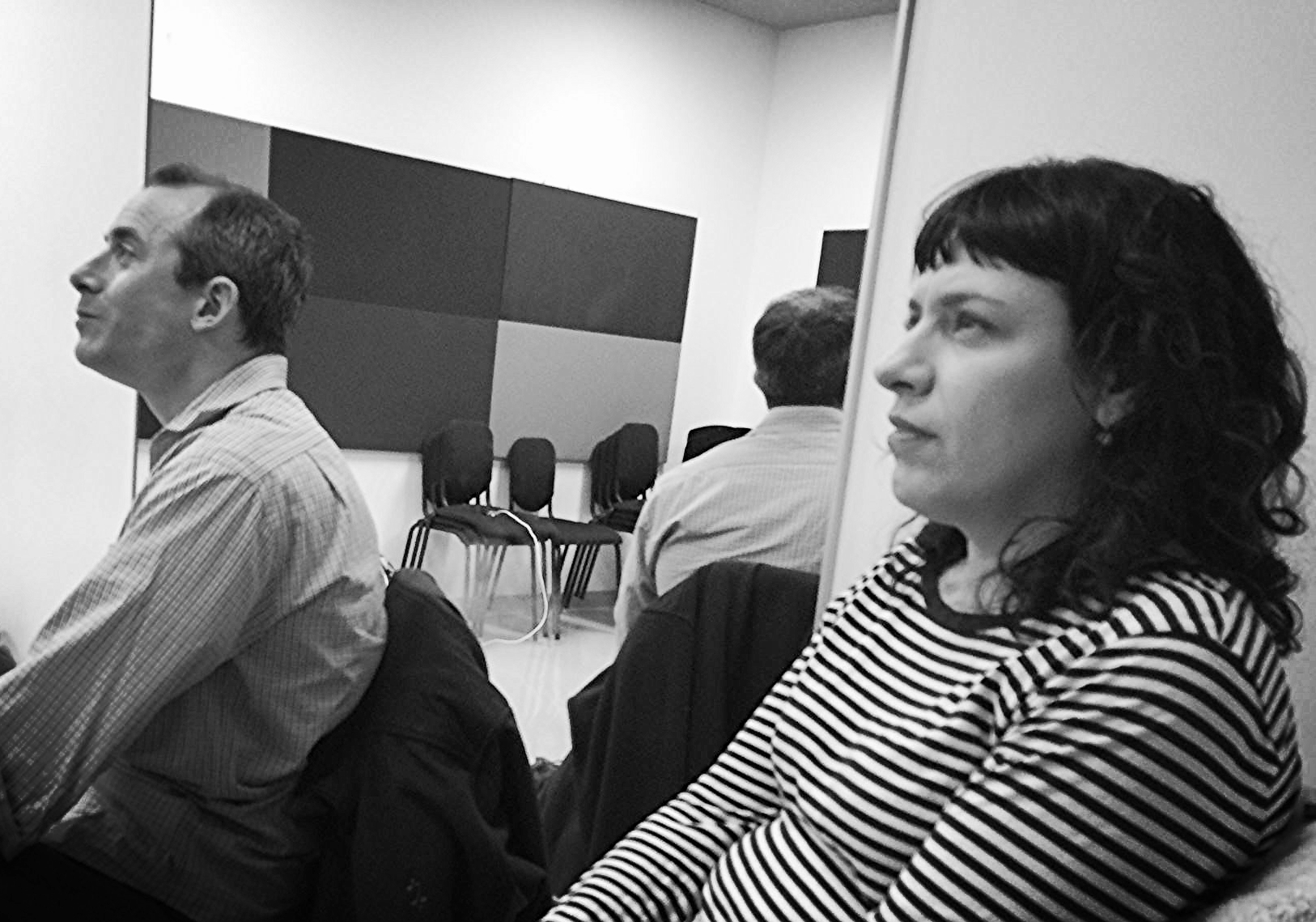 Stefan Schick and Deb Rabbai in the rehearsal room.
