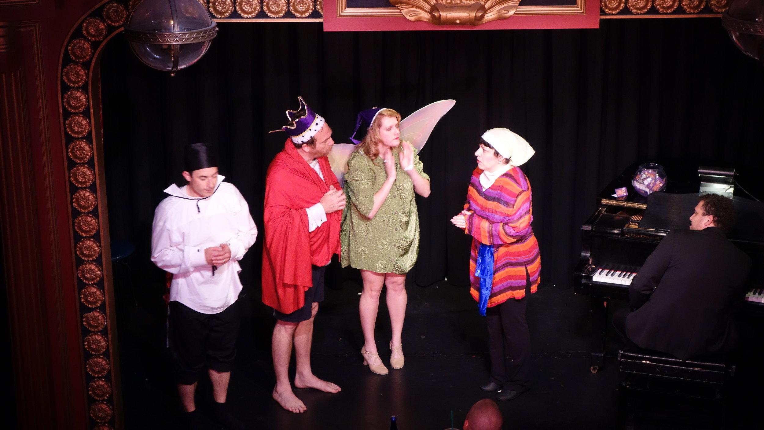 Stefan Schick, Rob Schiffmann, Megan Reilly, Deb Rabbai, and Assaf Gleizner onstage, in character. Photo Credit: Jordan Beisel
