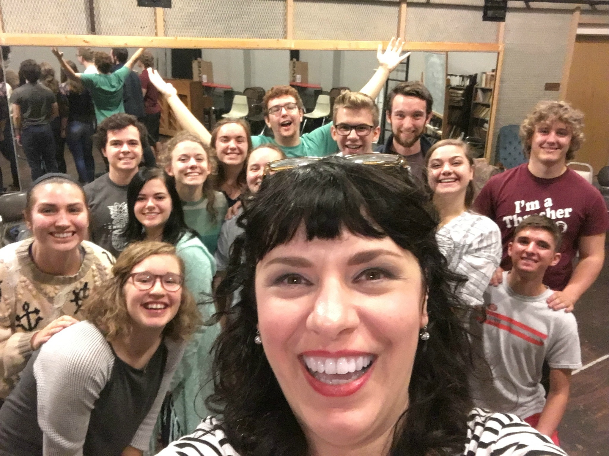 Deb Rabbai teaches an improv workshop for students at Bethel and Hesston Colleges