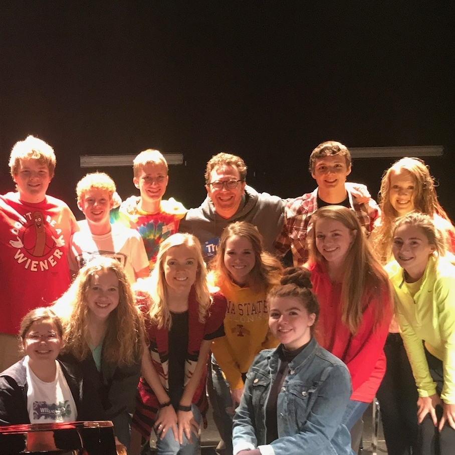Rob Schiffmann with students from his musical improv workshop