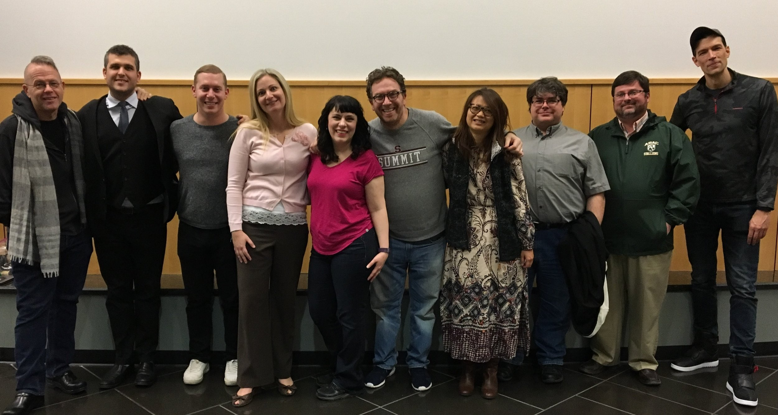 The cast and crew (including author Greg Triggs on the far left) with member of the Carter Foundation