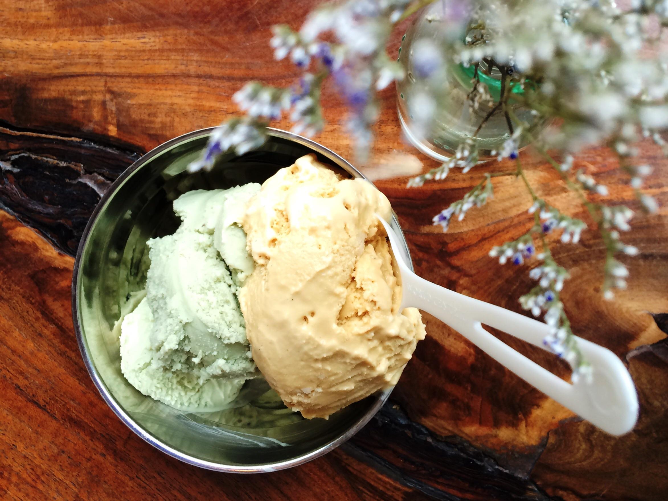 Vegan pistachio and classic salted caramel ice cream flavors.