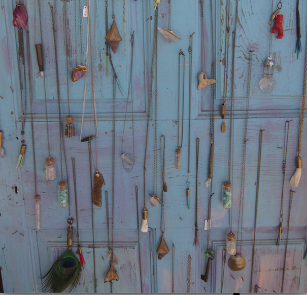 An old door used to display jewelry