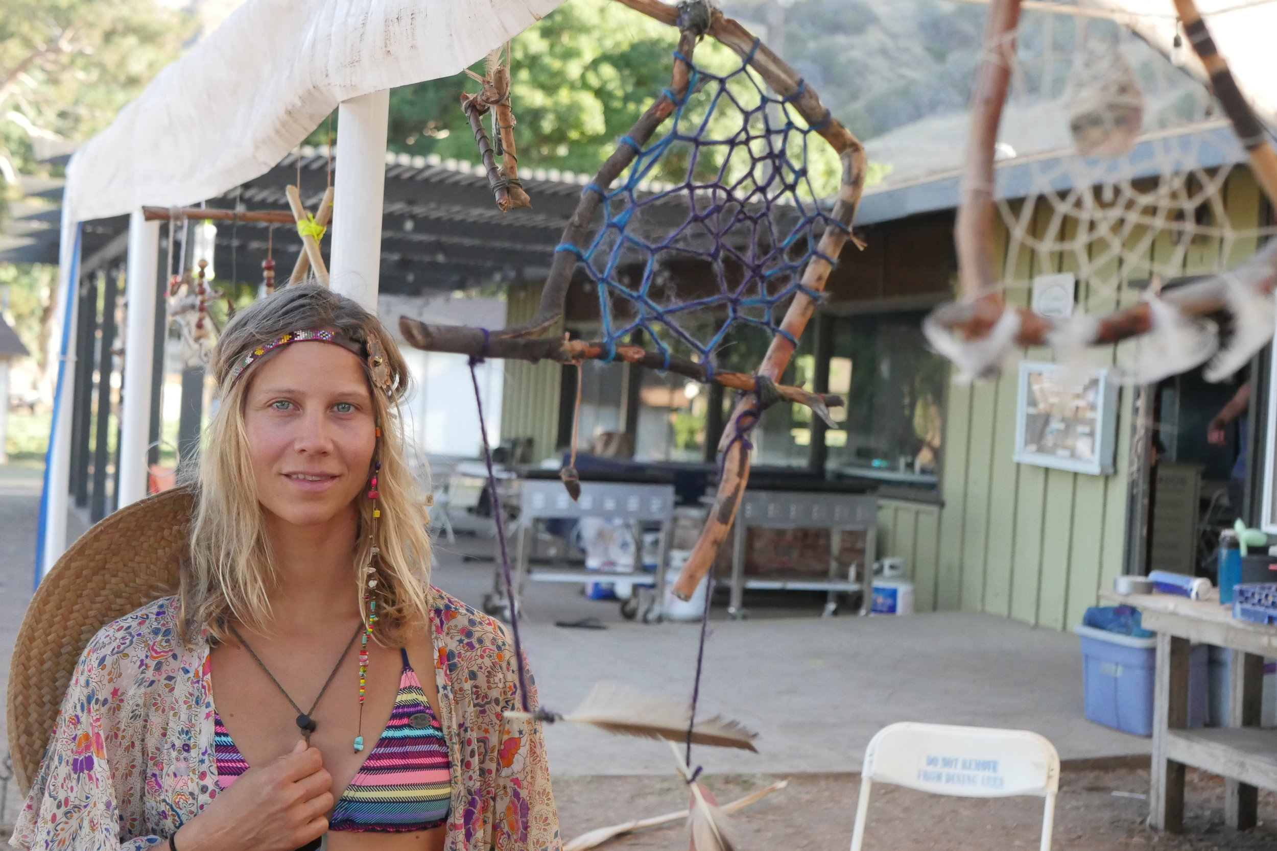 All kinds of shapes Dream Catchers made for unique art to be enjoyed around the camp site