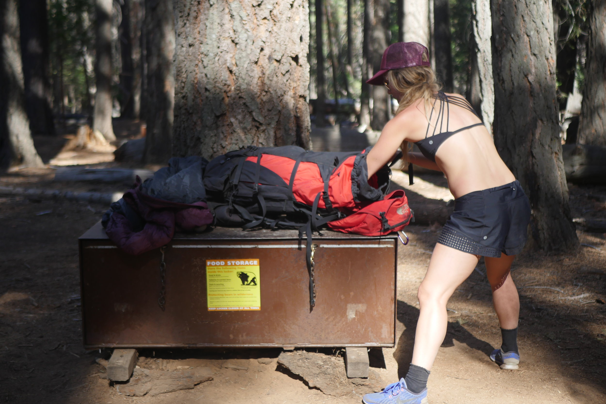 There are bear boxes provided at Little Yosemite Camp Grounds, but if you are hiking further to the next camp grounds you need to bring a bear container yourself