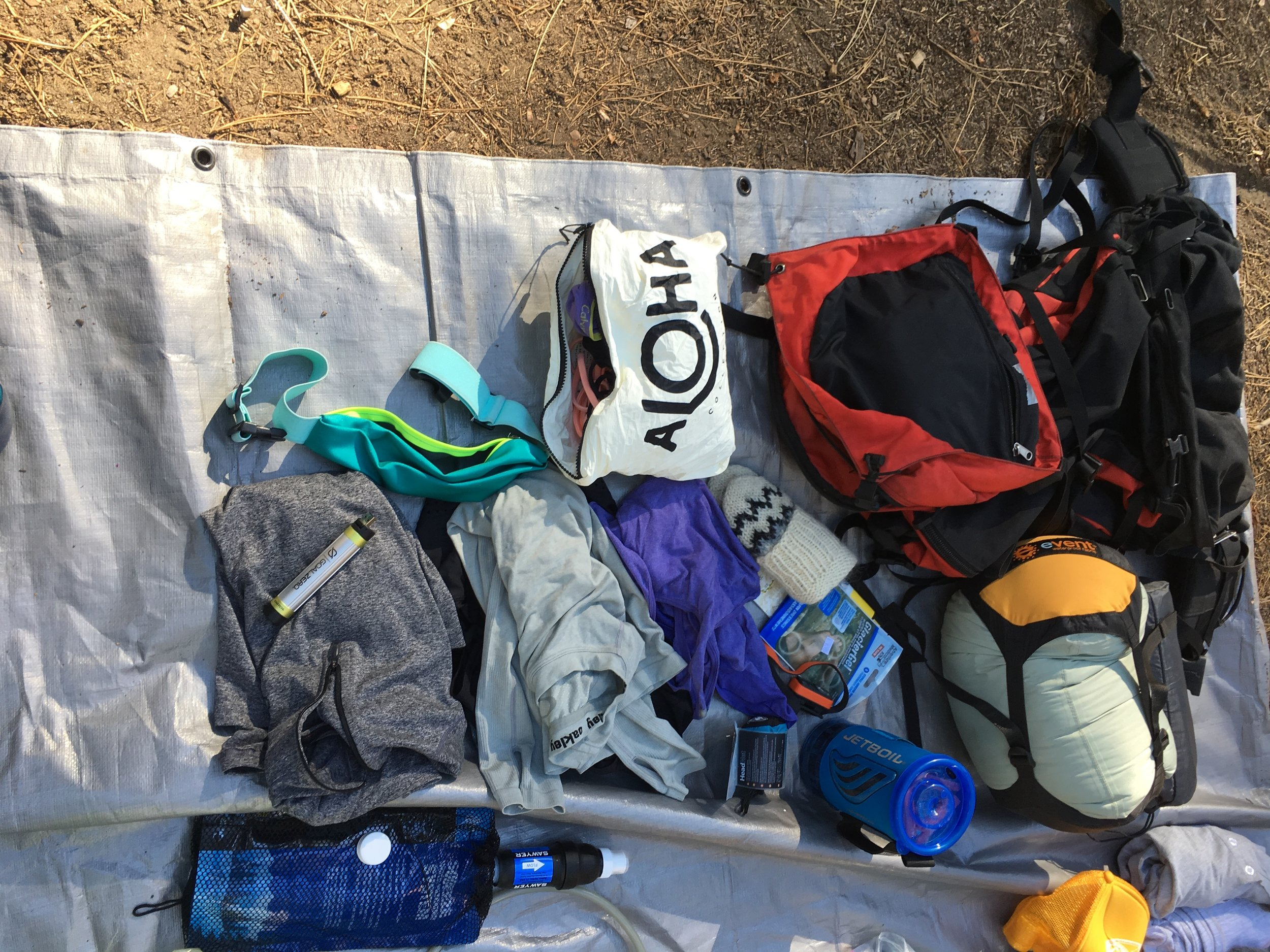 All the essentials for an adventure into the back country. We could have been out for 2 nights with what we brought.