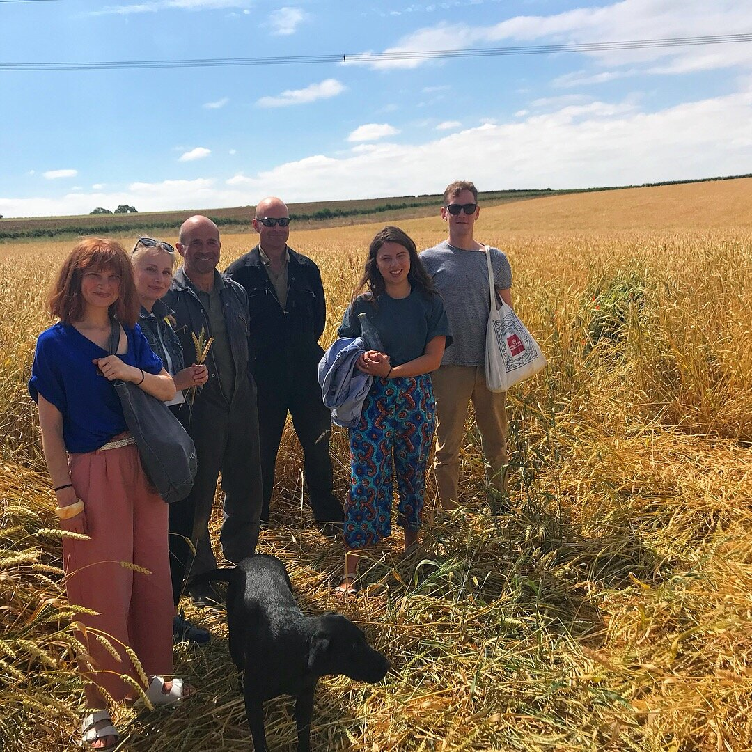Team Small Food with farmers John and Guy Turner, just prior to their first harvest of YQ to be milled and baked in Nottinghamshire.