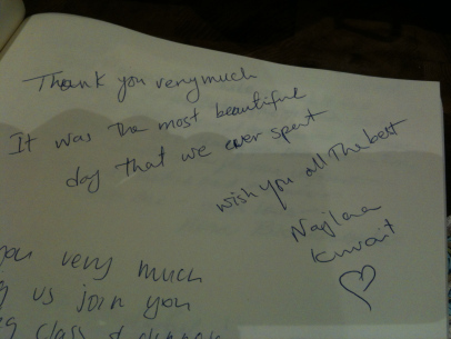 """"""" Thank you very much. It was the most beautiful day that we ever spent. Wish you all the best """" - Najila - Kuwait - 2014"""
