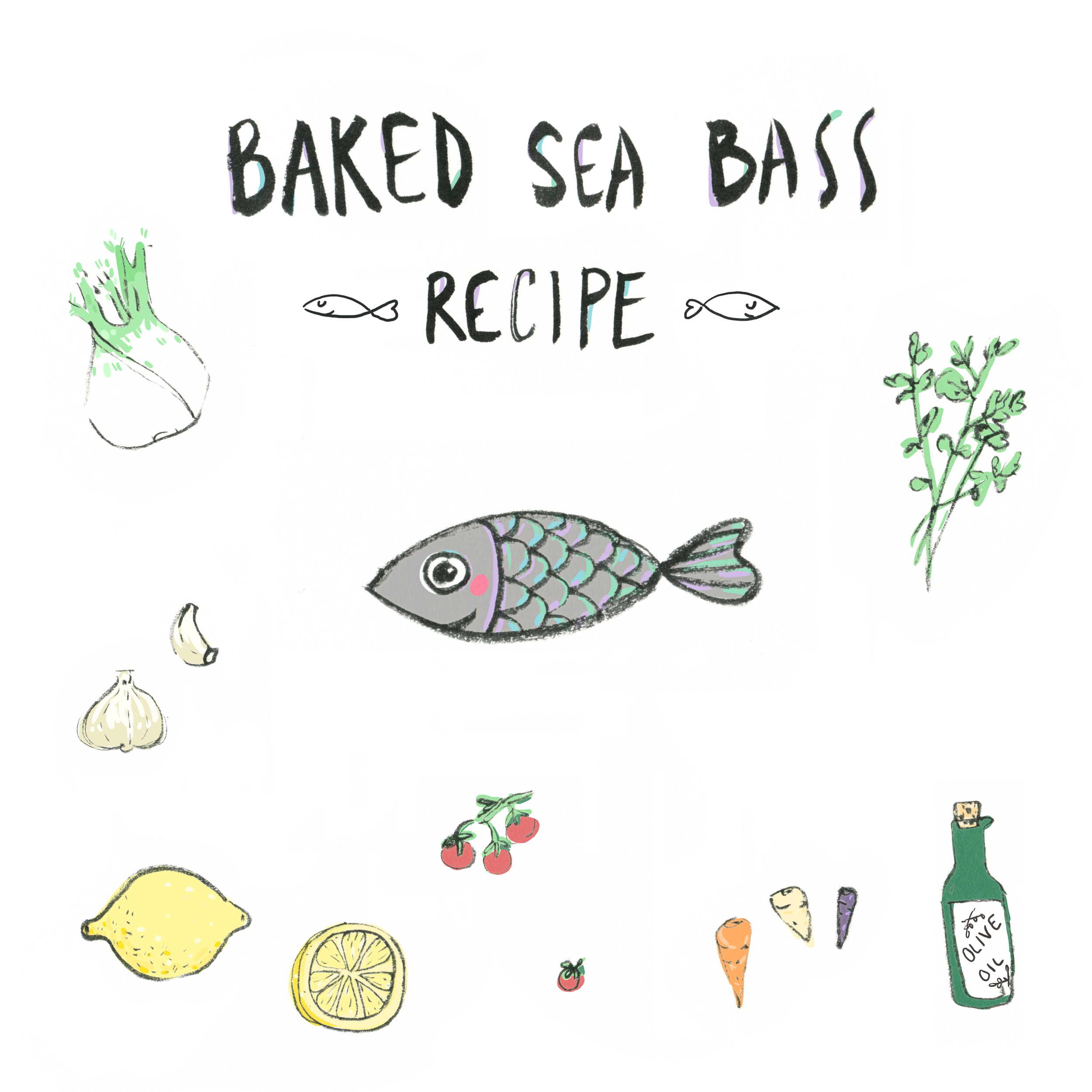 sea bass recipe drawings by andsmile