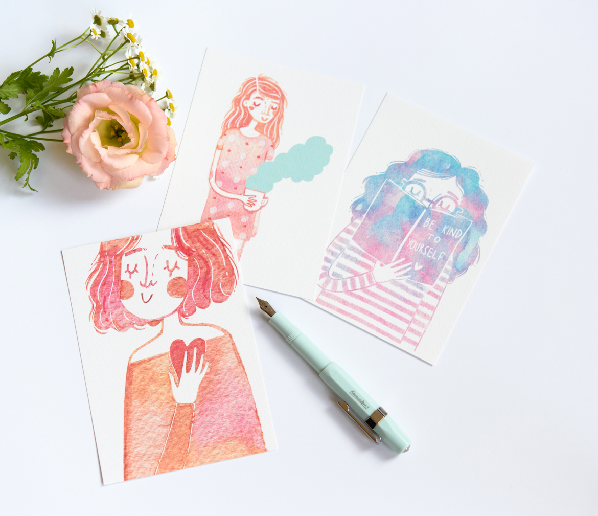 Be Kind // Set of Three Postcards by Andsmile. Based on original watercolour drawings, featuring three lovely girls, drinking coffee, listening to your heart and learning how to be kind to yourself